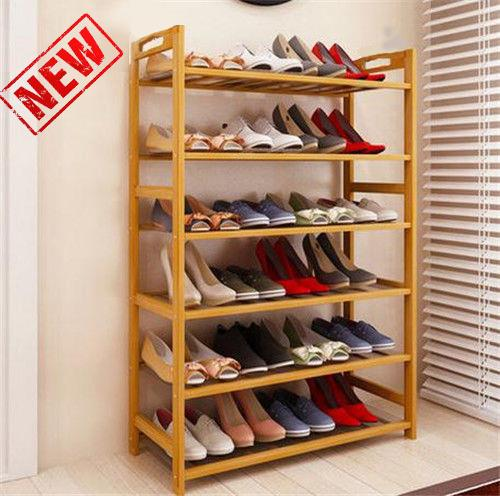 6 Tier Bamboo Shoe Rack Entryway Shelf Holder Storage Stand Organizer Furniture