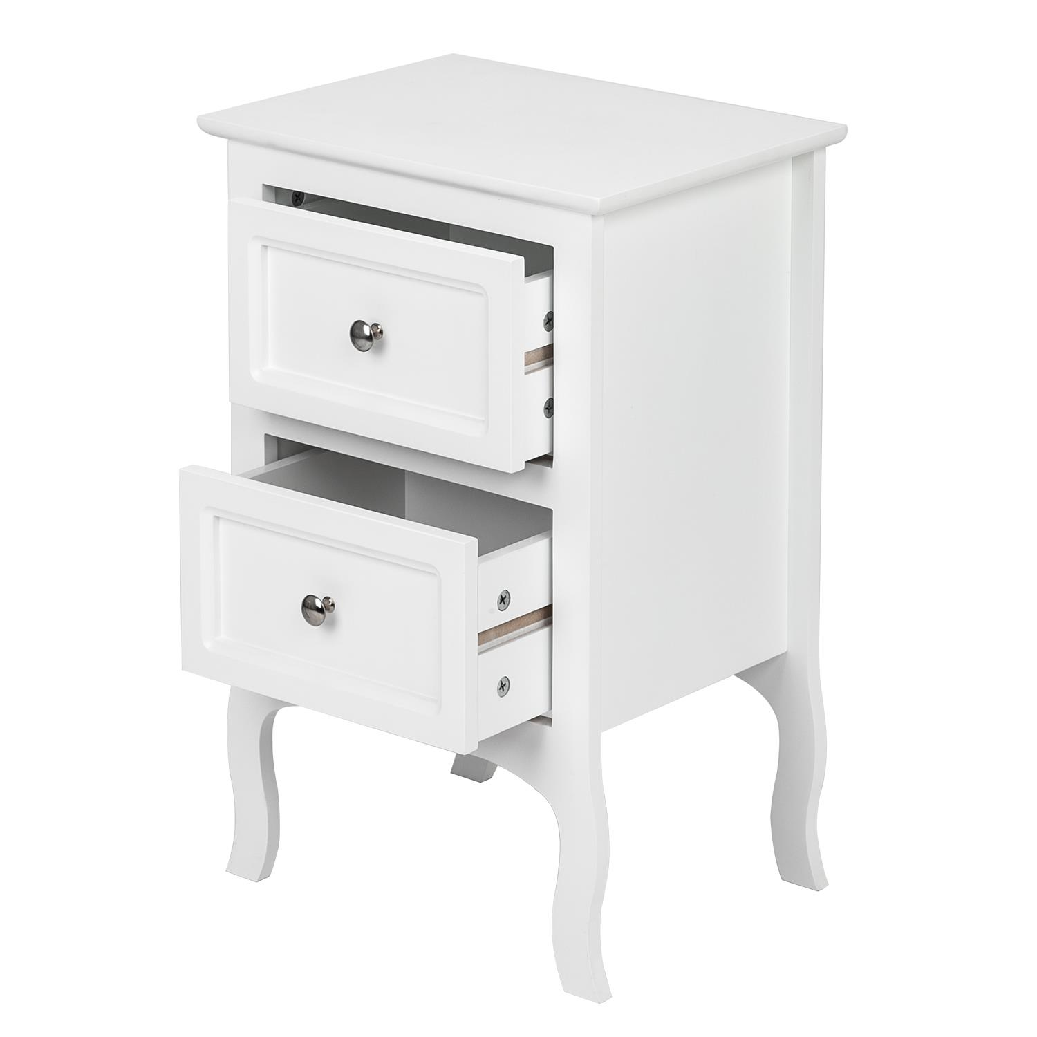 Home Garden 3 Drawers Nightstand Storage Wood End Table
